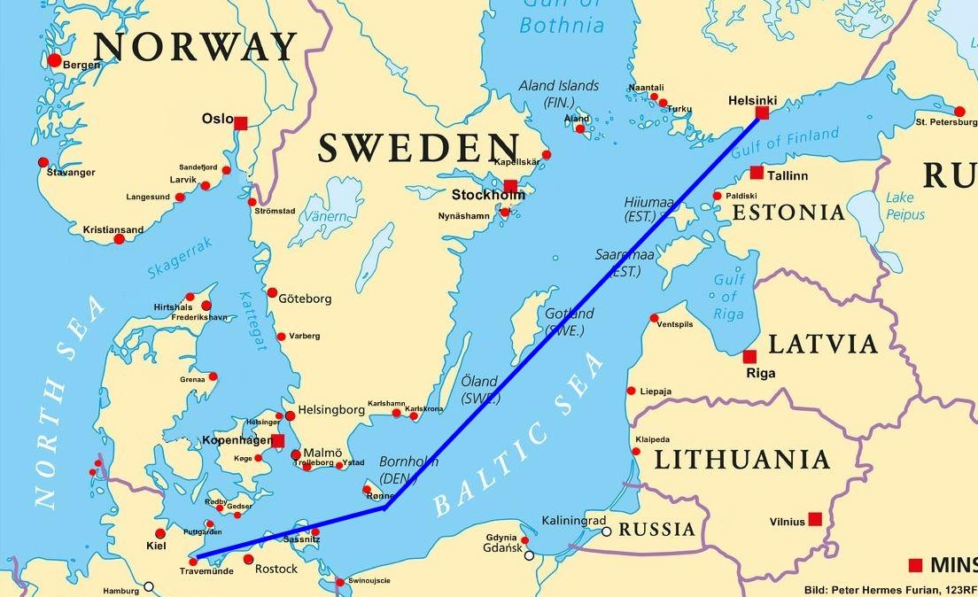 Route Fähre Travemünde-Helsinki